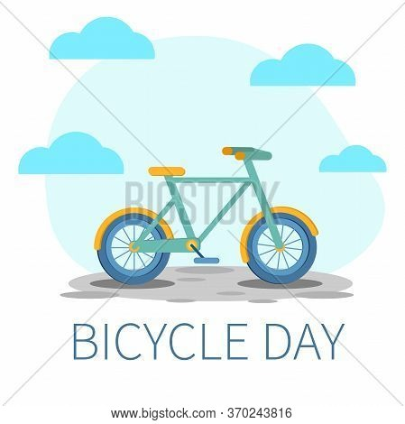 Bicycle Day - Funny Unofficial Holiday. Bike In Blue And Creen Color. Vector Illustration.