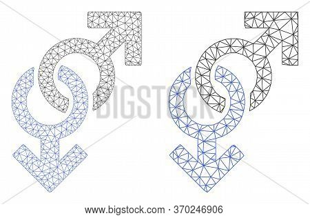 Mesh Vector Gay Symbol Icon. Mesh Wireframe Gay Symbol Image In Lowpoly Style With Connected Triangl