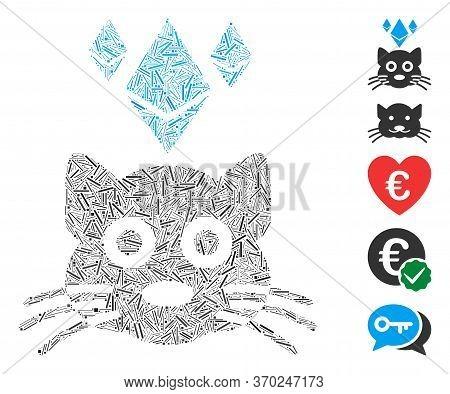 Hatch Mosaic Based On Ethereum Crypto Kitty Icon. Mosaic Vector Ethereum Crypto Kitty Is Composed Wi