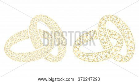 Mesh Vector Gold Rings Icon. Mesh Carcass Gold Rings Image In Low Poly Style With Combined Triangles