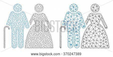 Mesh Vector Grandparents Couple Icon. Mesh Carcass Grandparents Couple Image In Low Poly Style With