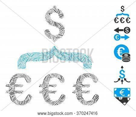 Line Mosaic Based On Euro Dollar Conversion Aggregator Icon. Mosaic Vector Euro Dollar Conversion Ag