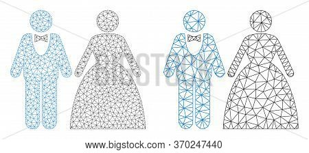 Mesh Vector Groom With Bride Icon. Mesh Wireframe Groom With Bride Image In Lowpoly Style With Organ