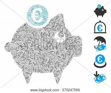 Hatch Mosaic Based On Euro Piggy Bank Icon. Mosaic Vector Euro Piggy Bank Is Created With Scattered