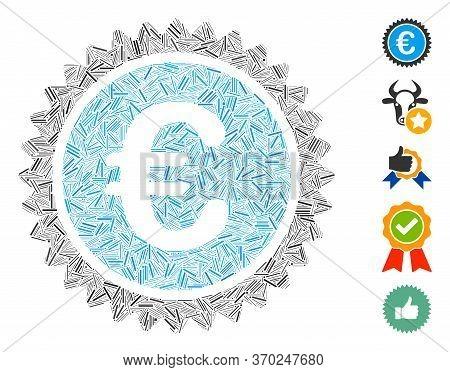 Dash Mosaic Based On European Quality Stamp Icon. Mosaic Vector European Quality Stamp Is Created Wi