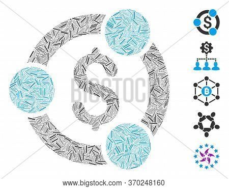 Line Collage Based On Financial Collaboration Icon. Mosaic Vector Financial Collaboration Is Created