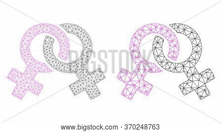 Net Vector Lesbian Symbol Icon. Mesh Carcass Lesbian Symbol Image In Low Poly Style With Structured