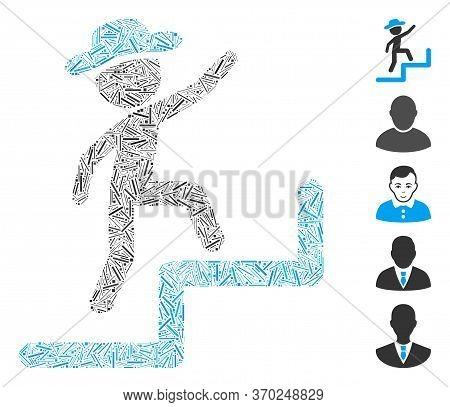 Hatch Mosaic Based On Gentleman Steps Upstairs Icon. Mosaic Vector Gentleman Steps Upstairs Is Forme