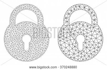 Mesh Vector Lock Icon. Mesh Wireframe Lock Image In Low Poly Style With Structured Triangles, Dots A