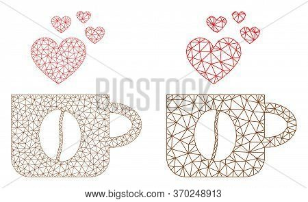 Triangular Vector Love Coffee Cup Icon. Mesh Carcass Love Coffee Cup Image In Low Poly Style With Co