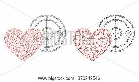 Triangular Vector Love Heart Radar Icon. Mesh Carcass Love Heart Radar Image In Lowpoly Style With O