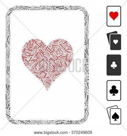 Hatch Mosaic Based On Hearts Gambling Card Icon. Mosaic Vector Hearts Gambling Card Is Formed With R