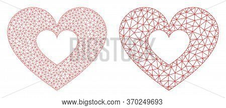 Mesh Vector Love Heart Icon. Mesh Carcass Love Heart Image In Lowpoly Style With Connected Triangles