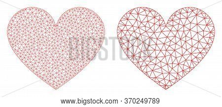 Mesh Vector Love Heart Icon. Mesh Carcass Love Heart Image In Low Poly Style With Combined Triangles