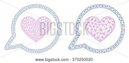 Polygonal Vector Love Message Icon. Mesh Wireframe Love Message Image In Lowpoly Style With Organize