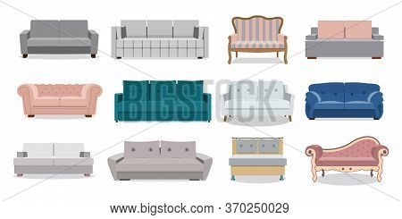 Sofa And Couches Colorful Cartoon Illustration Vector Set. Collection Of Comfortable Lounge For Inte