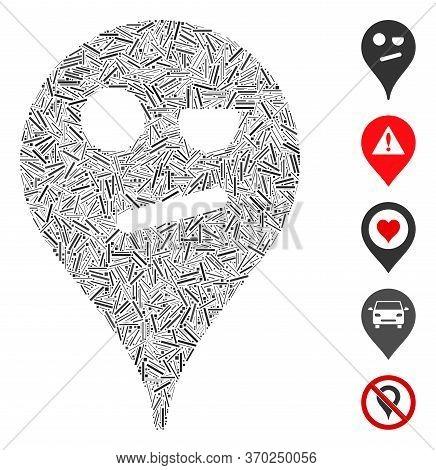 Line Mosaic Based On Infidelity Smiley Map Marker Icon. Mosaic Vector Infidelity Smiley Map Marker I