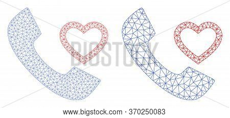 Mesh Vector Love Phone Receiver Icon. Mesh Wireframe Love Phone Receiver Image In Low Poly Style Wit