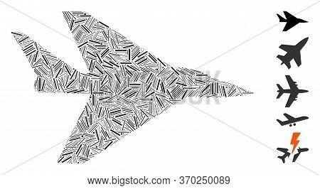 Line Mosaic Based On Intercepter Plane Icon. Mosaic Vector Intercepter Plane Is Created With Random