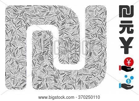 Hatch Mosaic Based On Israeli Shekel Icon. Mosaic Vector Israeli Shekel Is Designed With Random Hatc