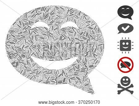 Line Mosaic Based On Joy Smiley Message Icon. Mosaic Vector Joy Smiley Message Is Composed With Scat