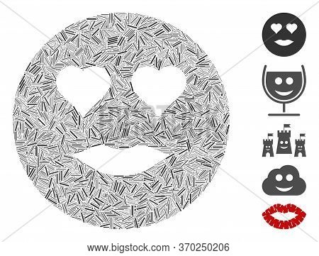 Line Mosaic Based On Lady Love Smiley Icon. Mosaic Vector Lady Love Smiley Is Designed With Random L