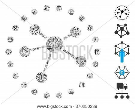 Hatch Mosaic Based On Links Diagram Icon. Mosaic Vector Links Diagram Is Formed With Scattered Hatch