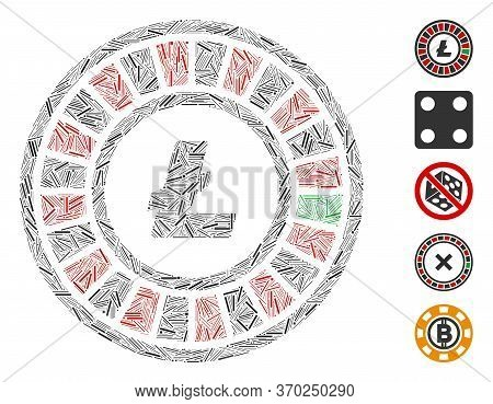 Hatch Collage Based On Litecoin Roulette Icon. Mosaic Vector Litecoin Roulette Is Created With Rando