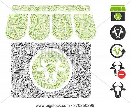 Hatch Mosaic Based On Livestock Farm Icon. Mosaic Vector Livestock Farm Is Designed With Randomized