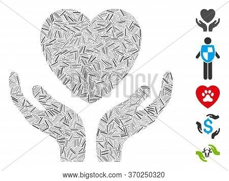 Line Mosaic Based On Love Heart Care Hands Icon. Mosaic Vector Love Heart Care Hands Is Designed Wit