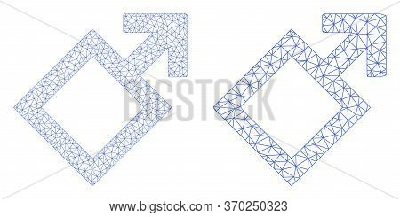 Mesh Vector Male Symbol Icon. Mesh Wireframe Male Symbol Image In Low Poly Style With Connected Tria