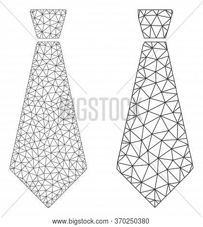 Polygonal Vector Male Tie Icon. Mesh Carcass Male Tie Image In Lowpoly Style With Connected Triangle