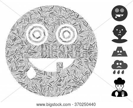 Line Mosaic Based On Maniac Smiley Icon. Mosaic Vector Maniac Smiley Is Created With Random Line Ite