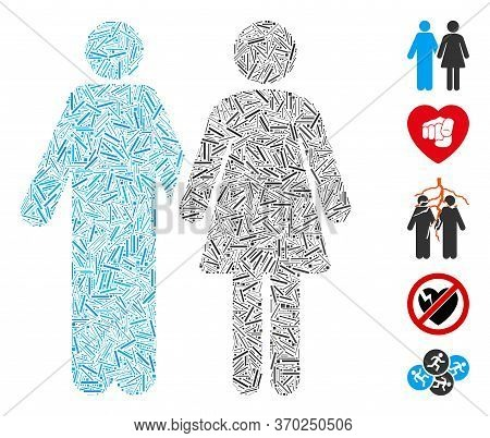 Line Mosaic Based On Married Couple Icon. Mosaic Vector Married Couple Is Created With Randomized Li