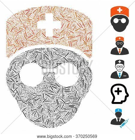 Line Mosaic Based On Medic Head Icon. Mosaic Vector Medic Head Is Composed With Scattered Line Spots