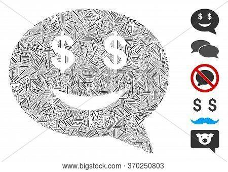 Line Mosaic Based On Millionaire Message Smile Icon. Mosaic Vector Millionaire Message Smile Is Desi