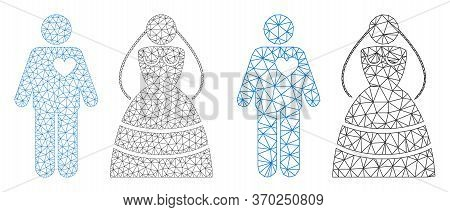 Mesh Vector Marriage Persons Icon. Mesh Wireframe Marriage Persons Image In Low Poly Style With Stru