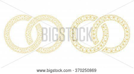 Mesh Vector Marriage Rings Icon. Mesh Carcass Marriage Rings Image In Lowpoly Style With Structured
