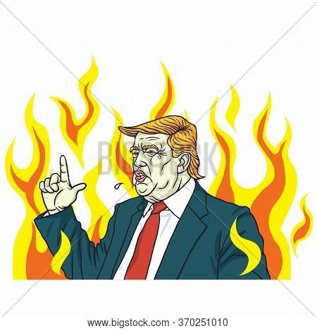 Donald Trump Angry Shouting With Fire Flame Burning Background. Vector Cartoon Illustration. Washing