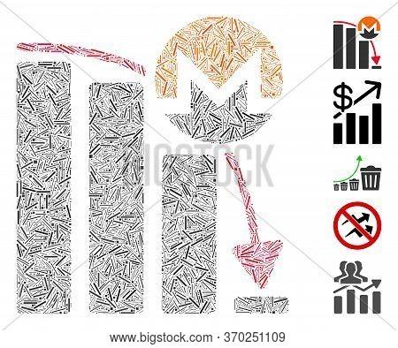 Dash Mosaic Based On Monero Falling Acceleration Chart Icon. Mosaic Vector Monero Falling Accelerati