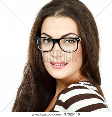 portrait of attractive caucasian smiling woman with glasses, isolated on white, studio poster