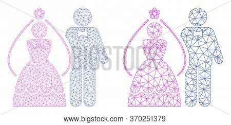 Mesh Vector Newlyweds Icon. Mesh Carcass Newlyweds Image In Lowpoly Style With Organized Triangles,