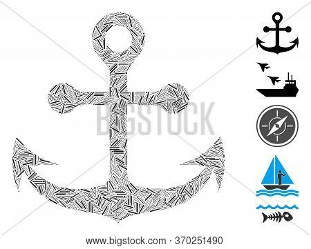 Dash Mosaic Based On Navy Anchor Icon. Mosaic Vector Navy Anchor Is Formed With Randomized Dash Dots