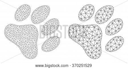 Mesh Vector Paw Footprint Icon. Mesh Wireframe Paw Footprint Image In Lowpoly Style With Organized T