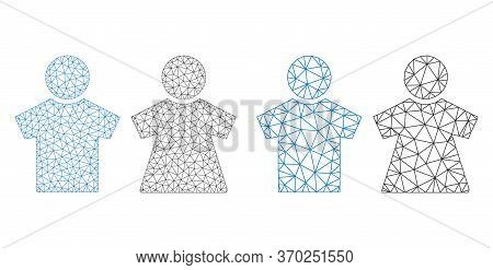 Polygonal Vector People Couple Icon. Polygonal Wireframe People Couple Image In Low Poly Style With