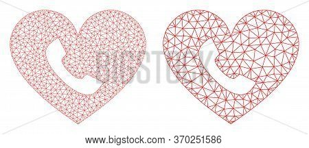 Mesh Vector Phone Heart Icon. Mesh Carcass Phone Heart Image In Lowpoly Style With Connected Triangl