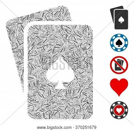 Dash Mosaic Based On Peaks Playing Cards Icon. Mosaic Vector Peaks Playing Cards Is Composed With Ra