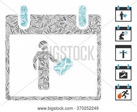 Dash Mosaic Based On Postman Calendar Day Icon. Mosaic Vector Postman Calendar Day Is Composed With
