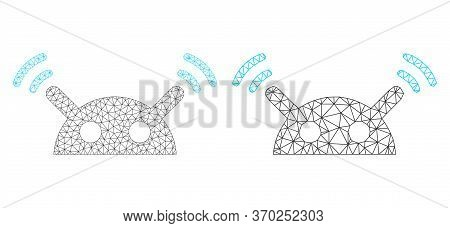 Mesh Vector Robot Radio Signal Icon. Mesh Wireframe Robot Radio Signal Image In Low Poly Style With