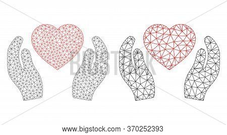 Mesh Vector Romantic Heart Care Hands Icon. Polygonal Wireframe Romantic Heart Care Hands Image In L